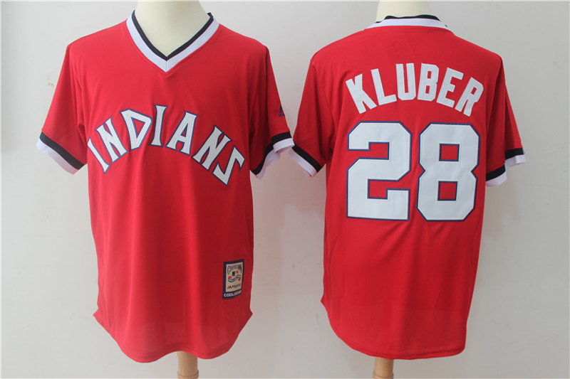 Indians 28 Corey Kluber Red Cooperstown Collection Jersey