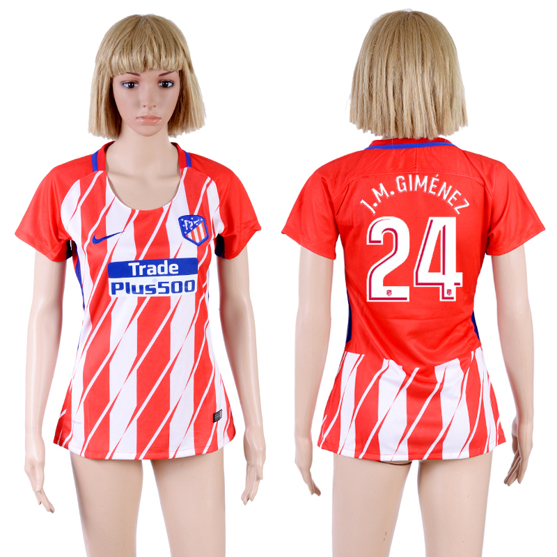 2017-18 Atletico Madrid 24 J.M.GIMENEZ Home Women Soccer Jersey