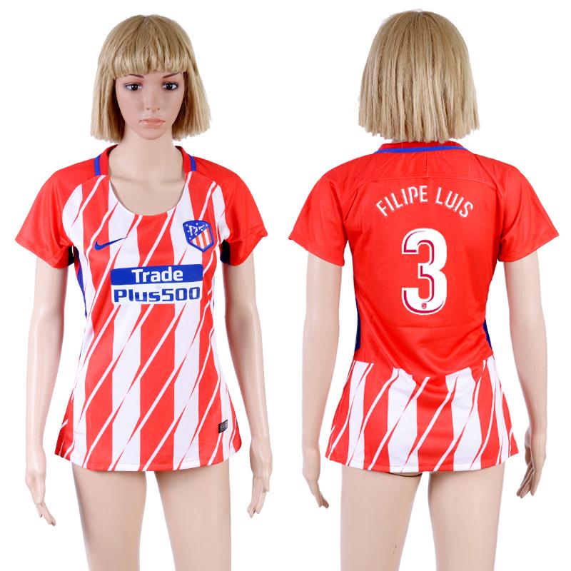 2017-18 Atletico Madrid 3 FILIPE LUIS Home Women Soccer Jersey