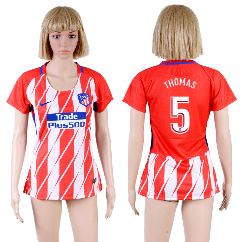 2017-18 Atletico Madrid 5 THOMAS Home Women Soccer Jersey