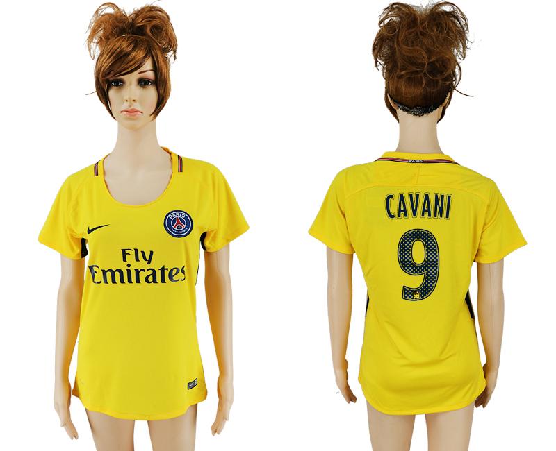 2017-18 Paris Saint-Germain 9 CAVANI Away Women Thailand Soccer Jersey
