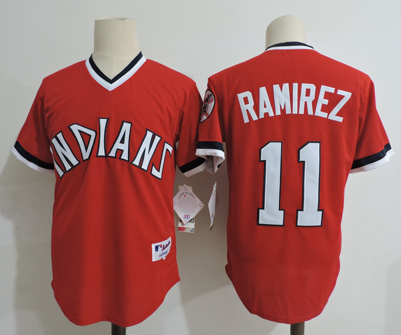 Indians 11 Jose Ramirez Red Cooperstown Collection Throwback Jersey