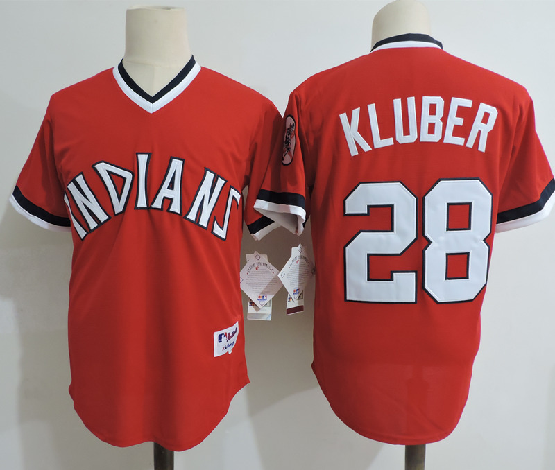 Indians 28 Corey Kluber Red Cooperstown Collection Throwback Jersey