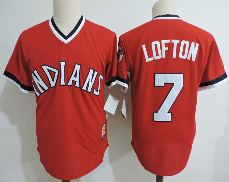 Indians 7 Kenny Lofton Red Cooperstown Collection Throwback Jersey