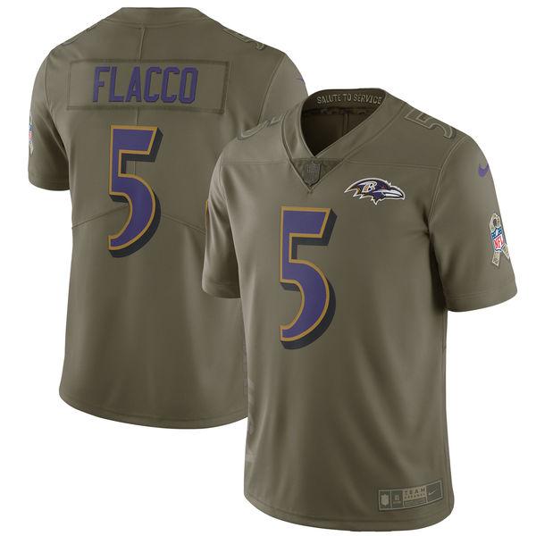 Nike Ravens 5 Joe Flacco Youth Olive Salute To Service Limited Jersey