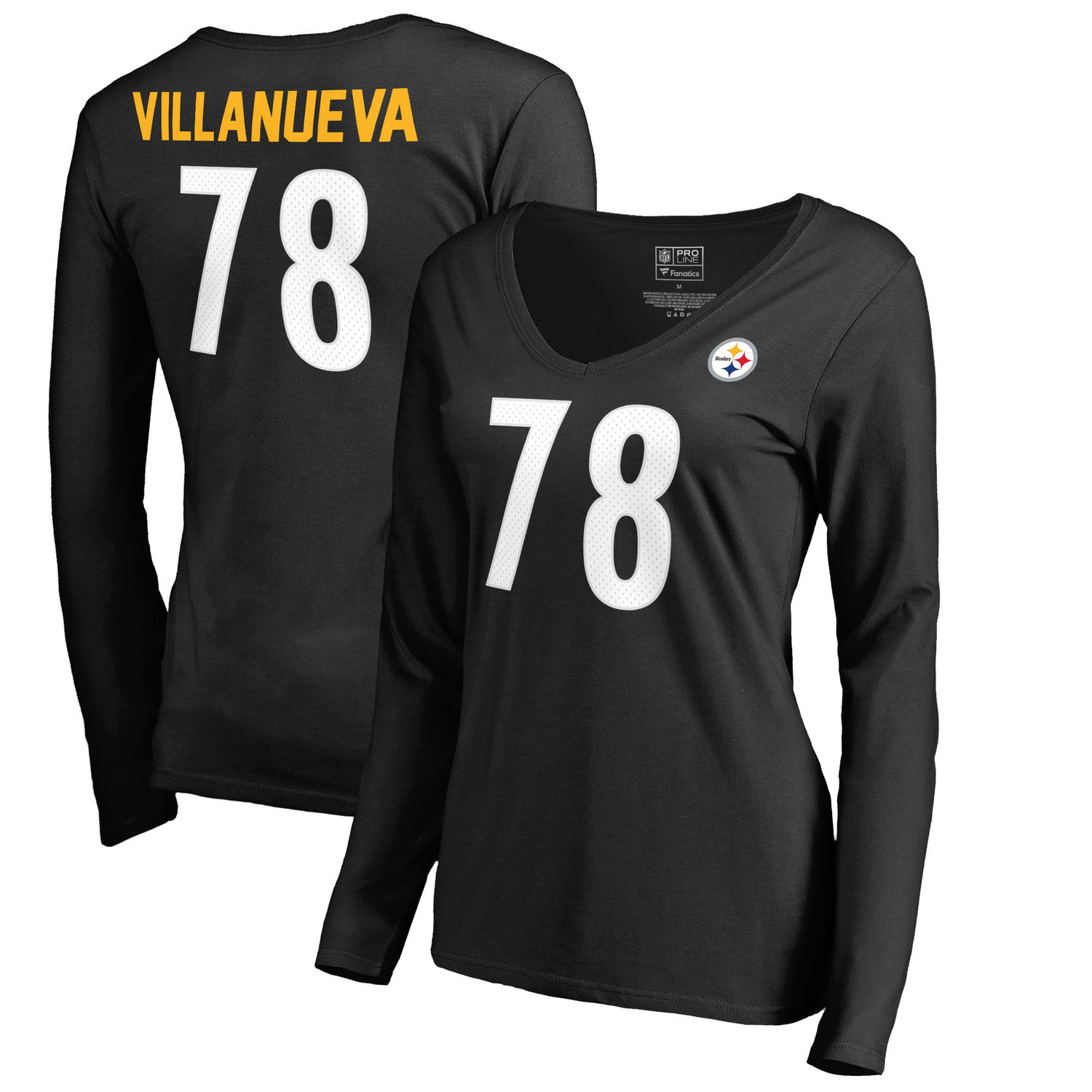 Women's Pittsburgh Steelers 78 Alejandro Villanueva NFL Pro Line by Fanatics Branded Black Authentic Stack Name Number V Neck Long Sleeve T Shirt