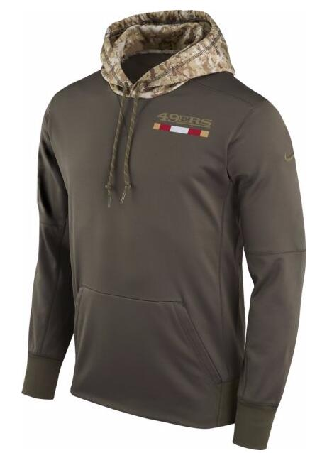 San Francisco 49ers Nike Salute to Service Sideline Therma Pullover Hoodie Olive
