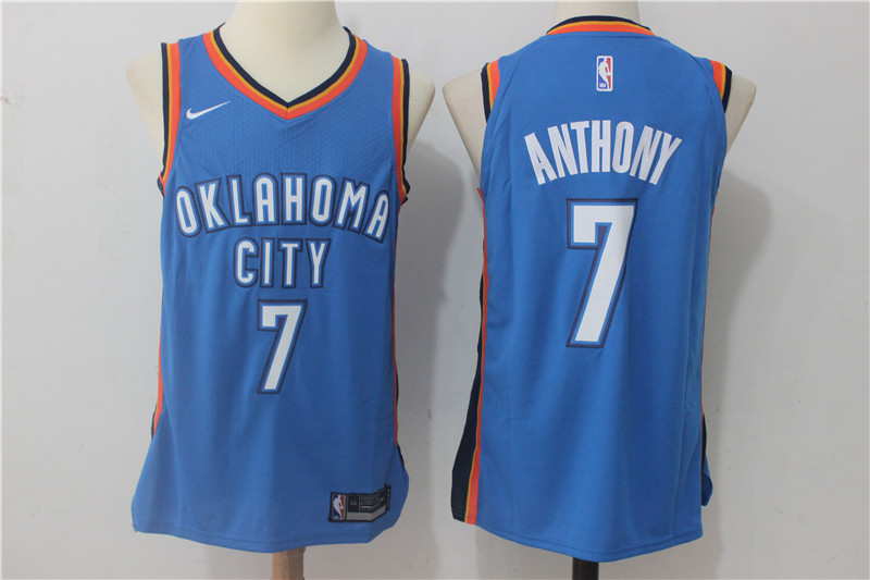 Thunder 7 Carmelo Anthony Blue Nike Authentic Jersey