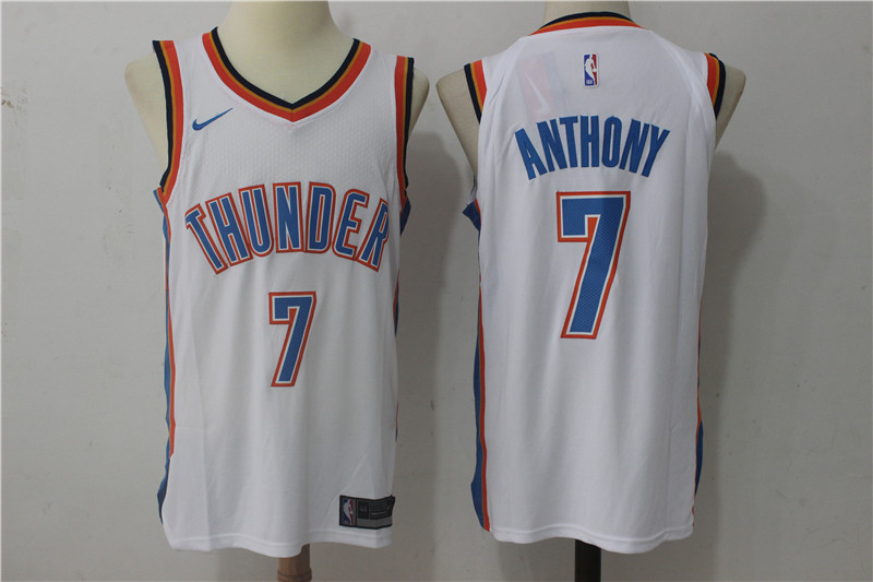Thunder 7 Carmelo Anthony White Nike Authentic Jersey