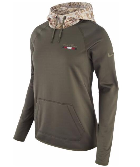 Nike Women's Atlanta Falcons Olive Salute to Service Sideline Therma Pullover Hoodie