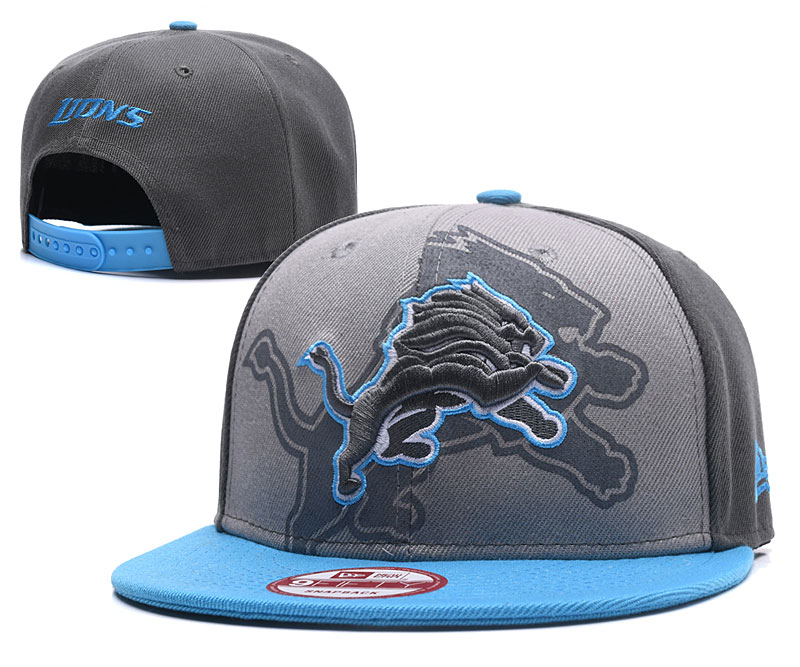 Lions Team Logo Gray Snapback Adjustable Hat GS