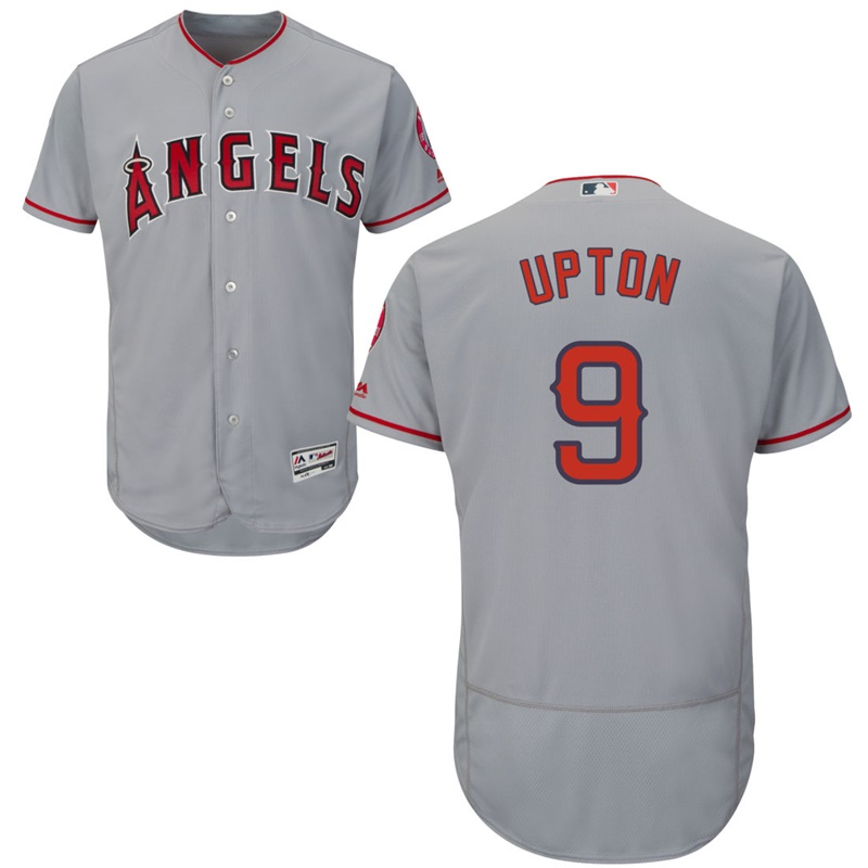 Angels 9 Justin Upton Gray Flexbase Jersey