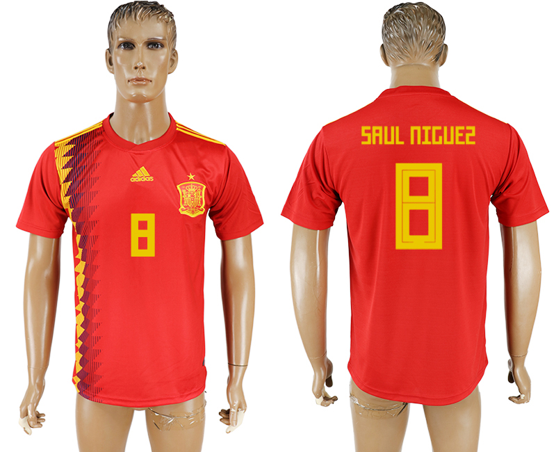 Spain 8 SAUL NIGUEZ Home 2018 FIFA World Cup Thailand Soccer Jersey