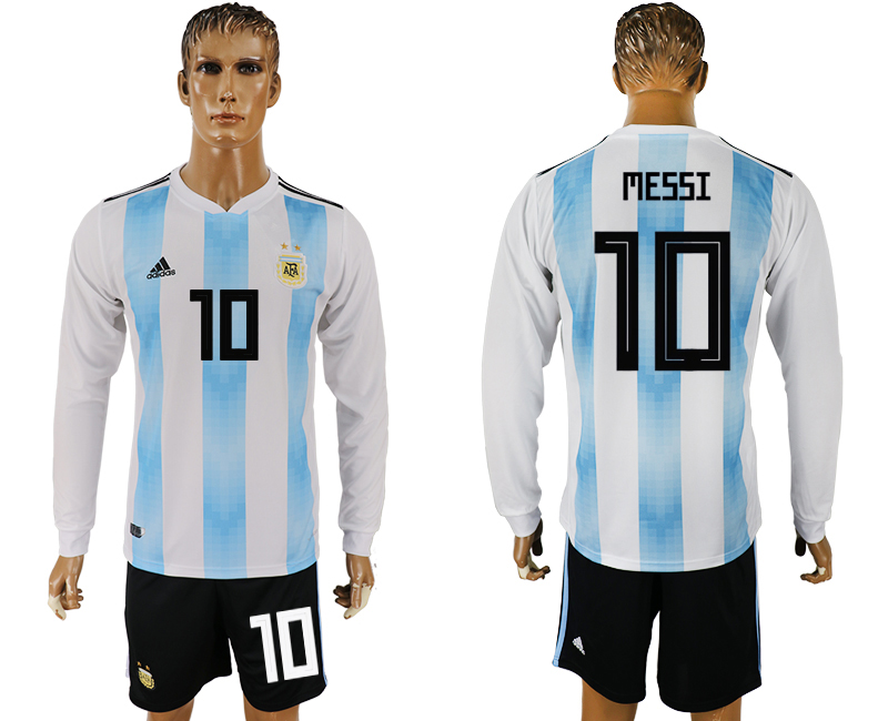 Argentina 10 MESSI Home Long Sleeve 2018 FIFA World Cup Soccer Jersey