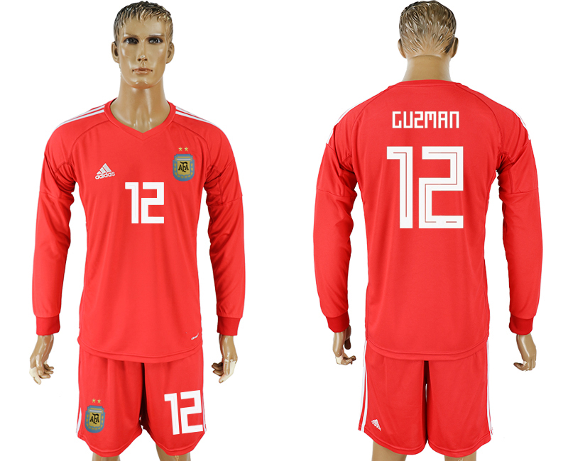 Argentina 12 GUZMAN Red Long Sleeve Goalkeeper 2018 FIFA World Cup Soccer Jersey