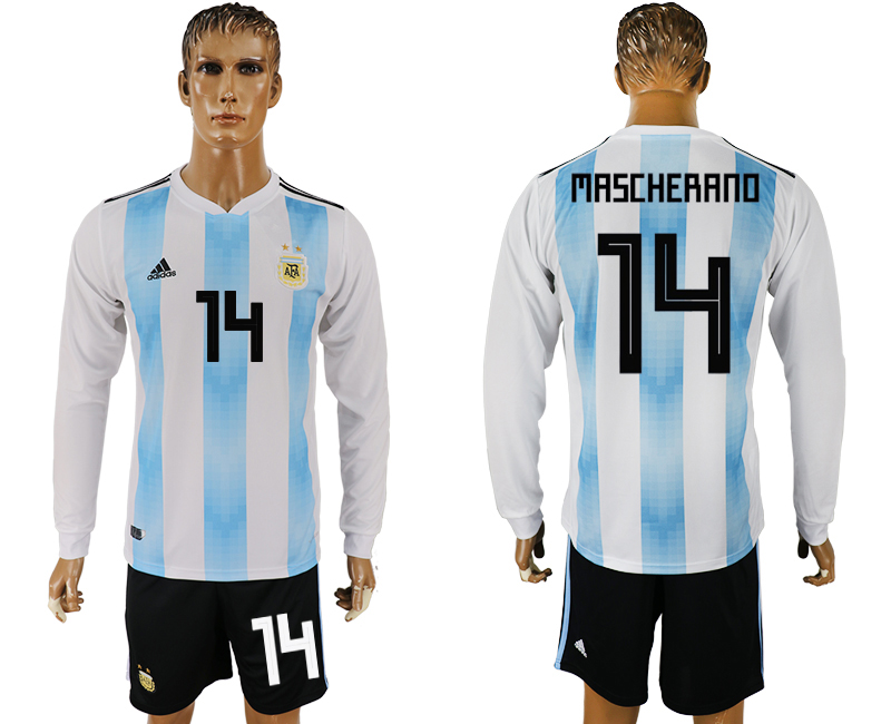Argentina 14 ASCHERANO Home Long Sleeve 2018 FIFA World Cup Soccer Jersey