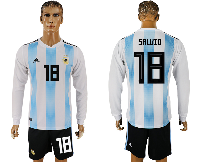 Argentina 18 SALVIO Home Long Sleeve 2018 FIFA World Cup Soccer Jersey