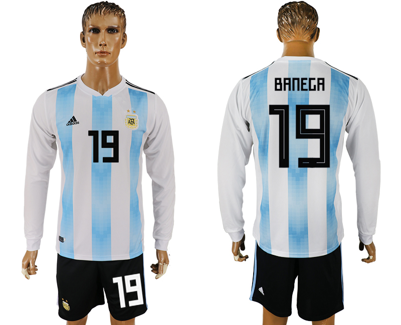 Argentina 19 BANEGA Home Long Sleeve 2018 FIFA World Cup Soccer Jersey