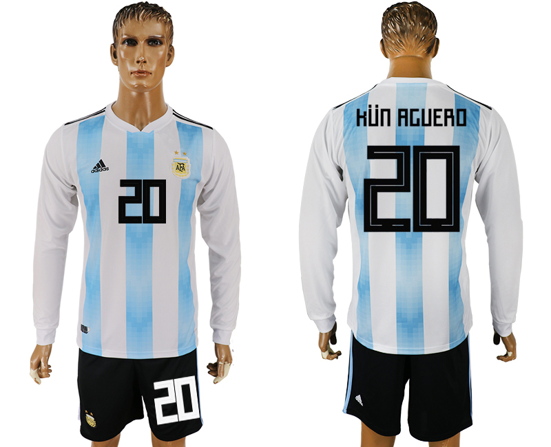 Argentina 20 KUN AGUERO Home Long Sleeve 2018 FIFA World Cup Soccer Jersey