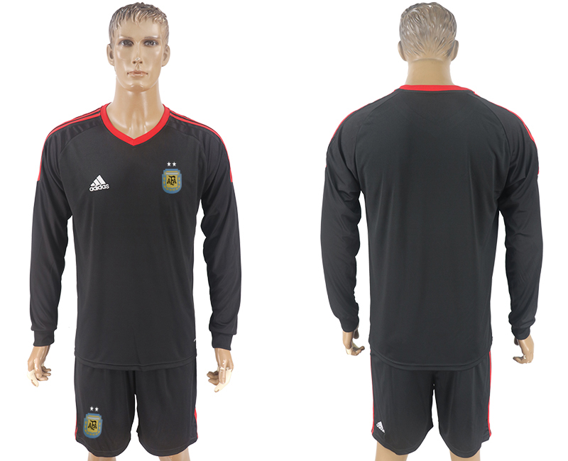 Argentina Black Long Sleeve Goalkeeper 2018 FIFA World Cup Soccer Jersey