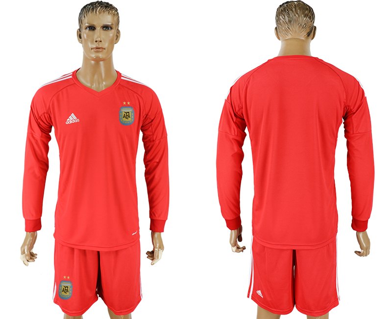 Argentina Red Long Sleeve Goalkeeper 2018 FIFA World Cup Soccer Jersey