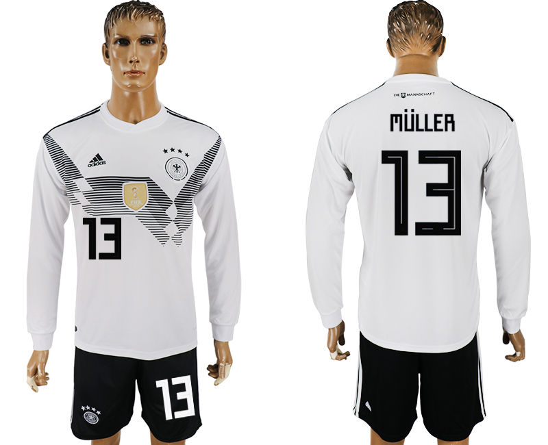 Germany 13 MULLER Home Long Sleeve 2018 FIFA World Cup Soccer Jersey