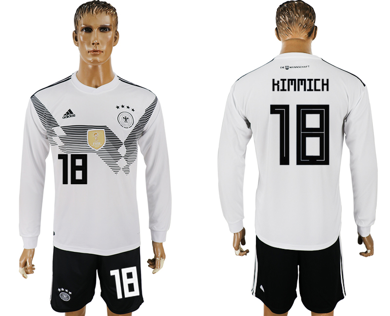 Germany 18 KIMMICH Home Long Sleeve 2018 FIFA World Cup Soccer Jersey
