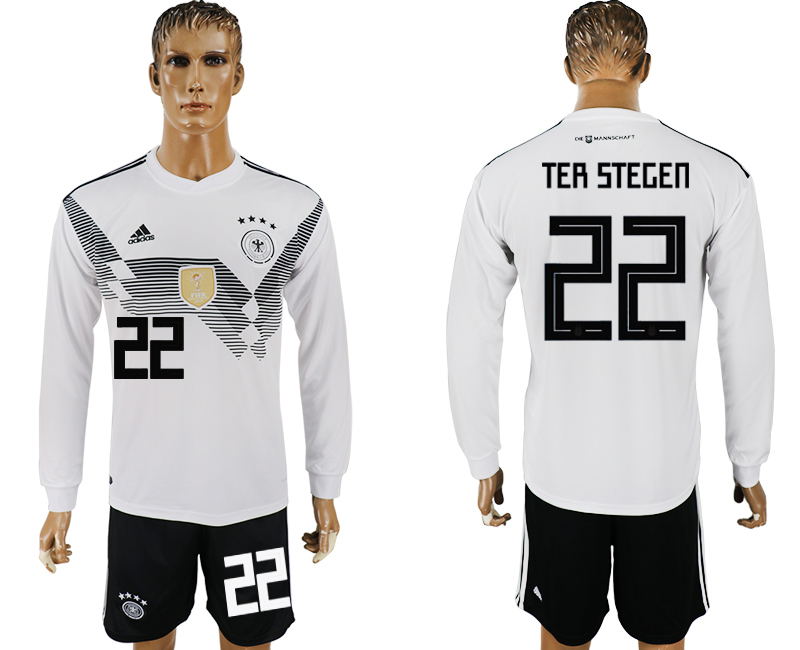 Germany 22 TER STEGEN Home Long Sleeve 2018 FIFA World Cup Soccer Jersey