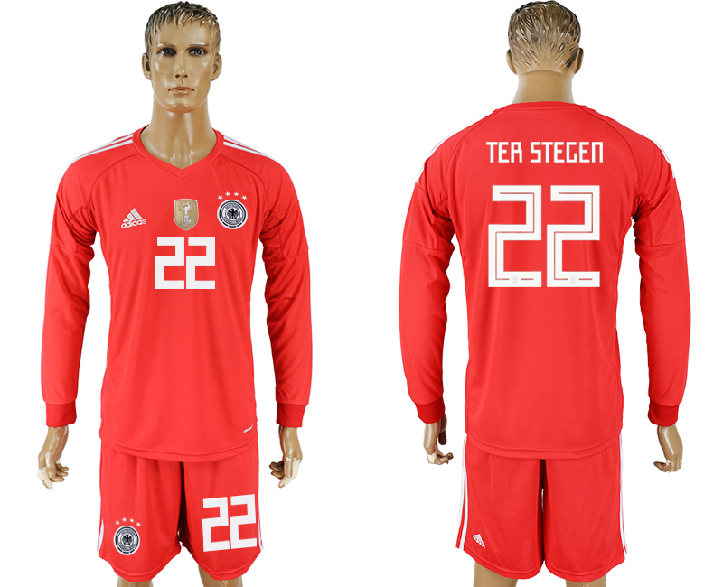 Germany 22 TER STEGEN Red Long Sleeve Goalkeeper 2018 FIFA World Cup Soccer Jersey