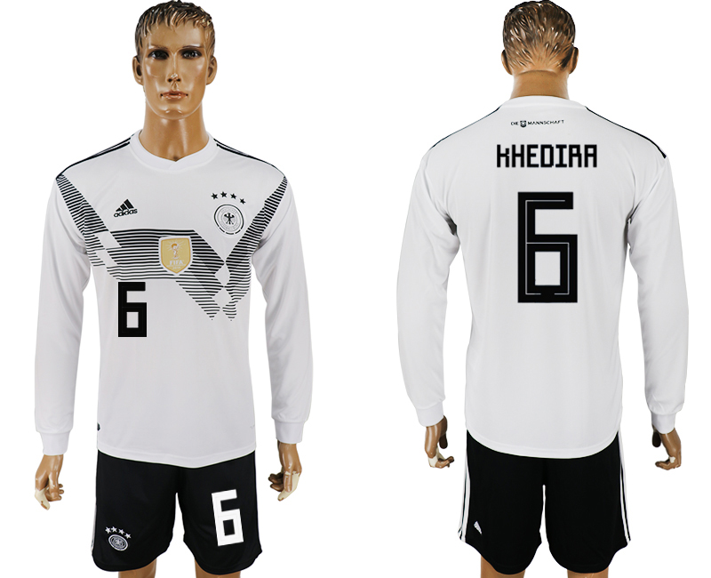 Germany 6 KHEDIRA Home Long Sleeve 2018 FIFA World Cup Soccer Jersey