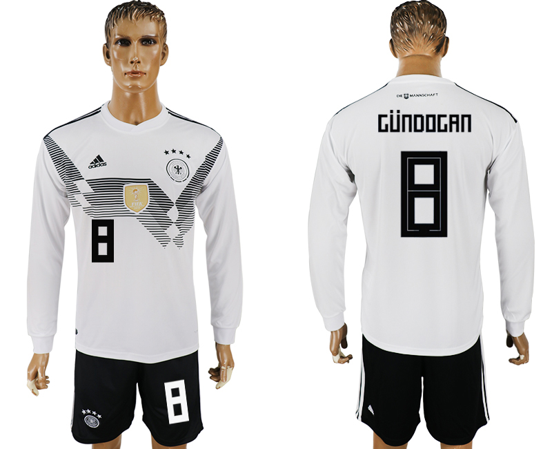 Germany 8 GUNDOGAN Home Long Sleeve 2018 FIFA World Cup Soccer Jersey
