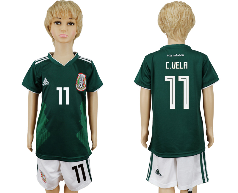 Mexico 11 C.VELA Home Youth 2018 FIFA World Cup Soccer Jersey