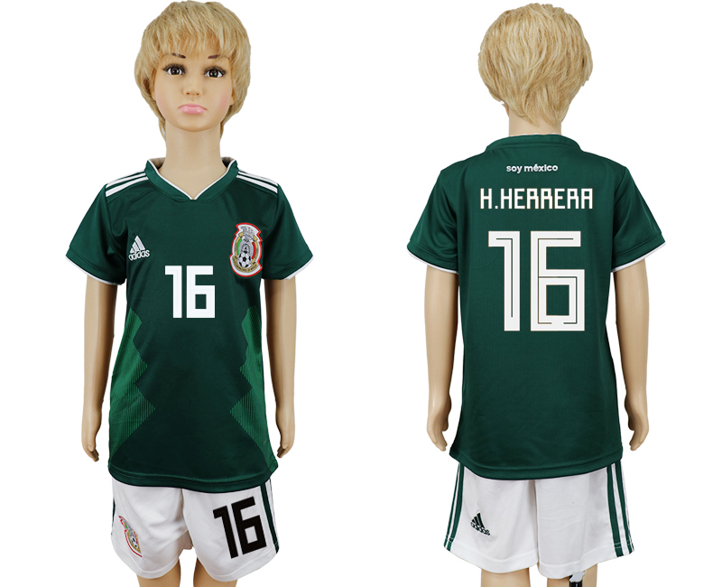 Mexico 16 H.HERRERA Home Youth 2018 FIFA World Cup Soccer Jersey