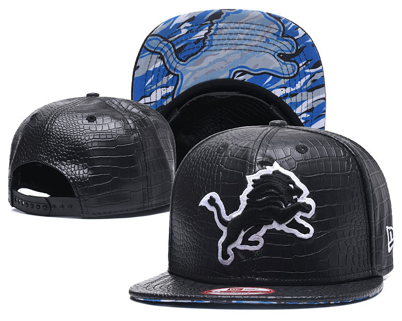 Lions Team Logo Black Snapback Adjustable Hat GS