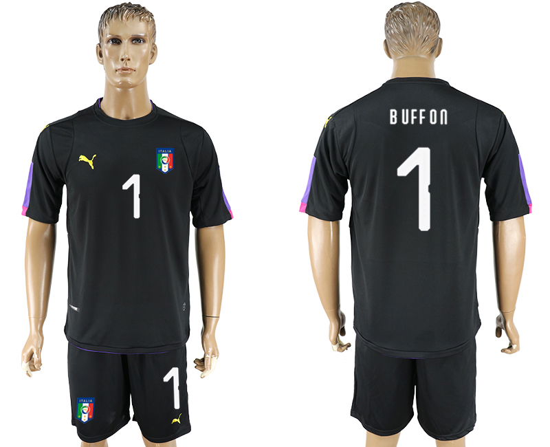 2017-18 Italy 1 BUFFON Black Goalkeeper Soccer Jersey