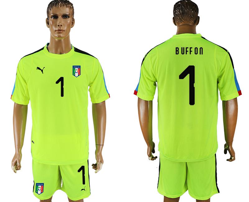 9cfa3a60a 2017-18 Italy 1 BUFFON Fluorescent Green Goalkeeper Soccer Jersey