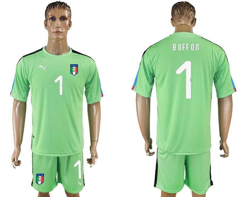 2017-18 Italy 1 BUFFON Green Goalkeeper Soccer Jersey
