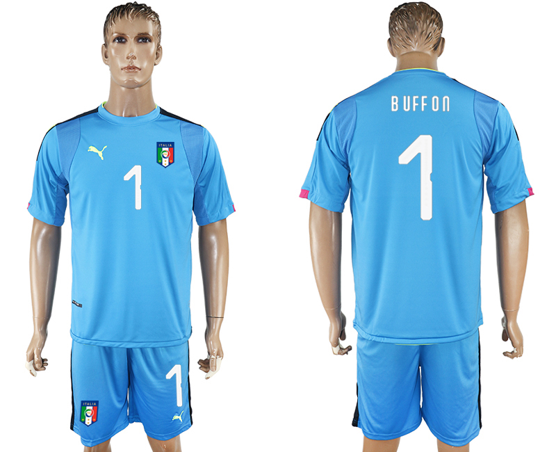 2017-18 Italy 1 BUFFON Lake Blue Goalkeeper Soccer Jersey