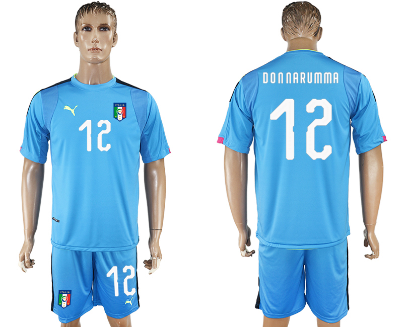2017-18 Italy 12 DONNA RUMMA Lake Blue Goalkeeper Soccer Jersey