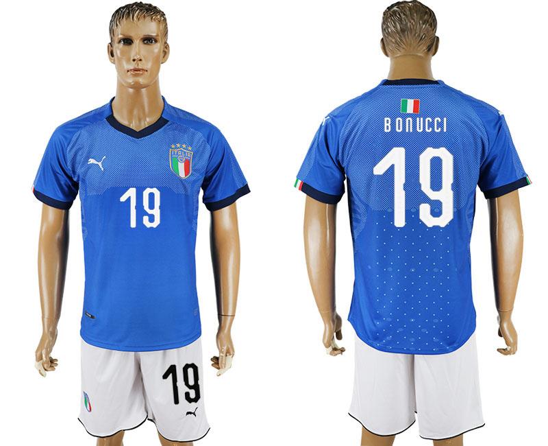 9b9123b48 2017-18 Italy 19 BONUCCI Home Soccer Jersey