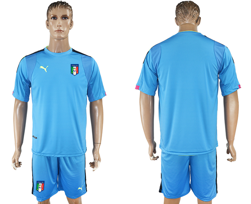 2017-18 Italy Lake Blue Goalkeeper Soccer Jersey