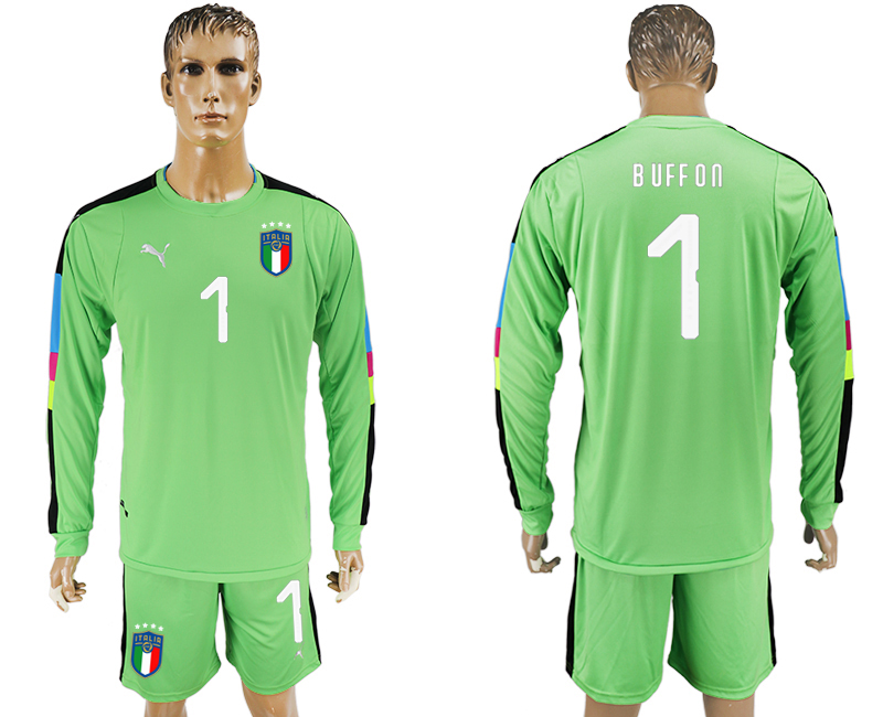 2017-18 Italy 1 BUFFON Green Long Sleeve Goalkeeper Soccer Jersey