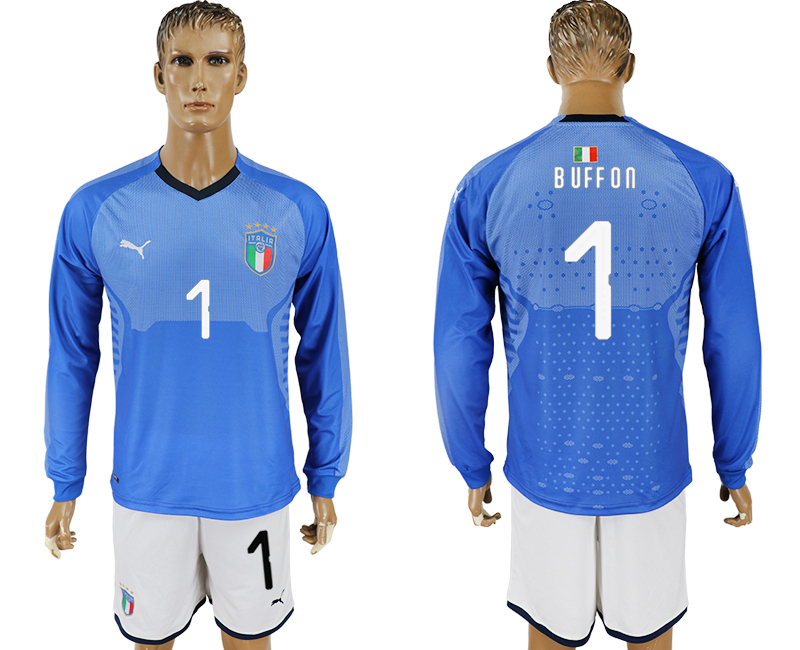 2017-18 Italy 1 BUFFON Home Long Sleeve Soccer Jersey