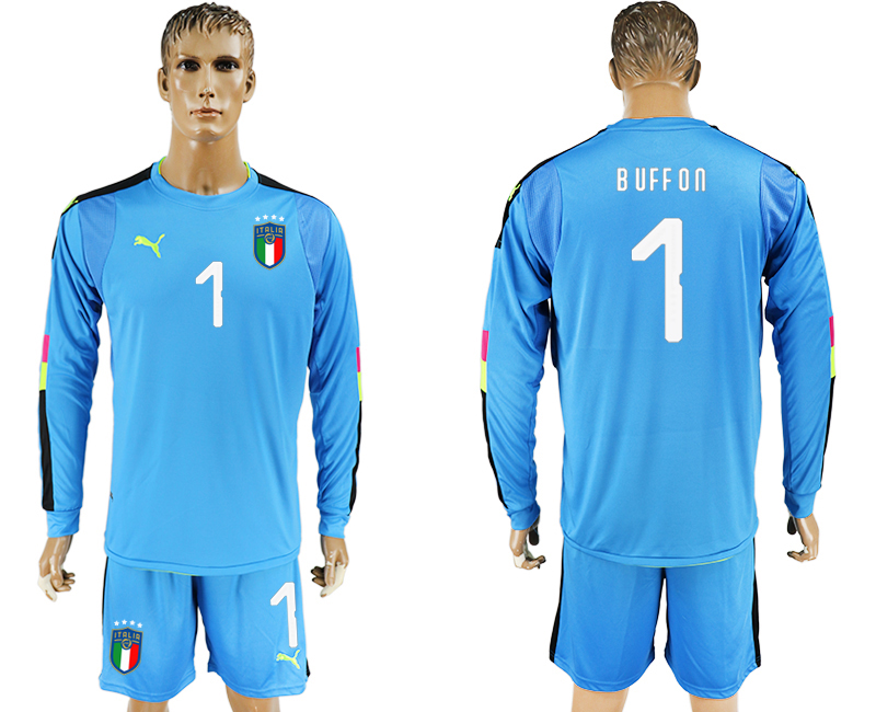 2017-18 Italy 1 BUFFON Lake Blue Long Sleeve Goalkeeper Soccer Jersey