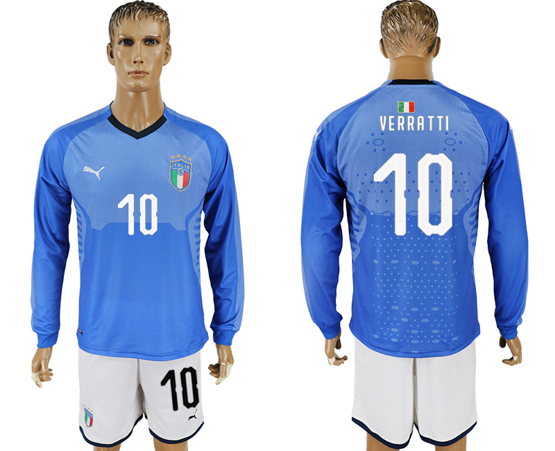 2017-18 Italy 10 VERRATTI Home Long Sleeve Soccer Jersey