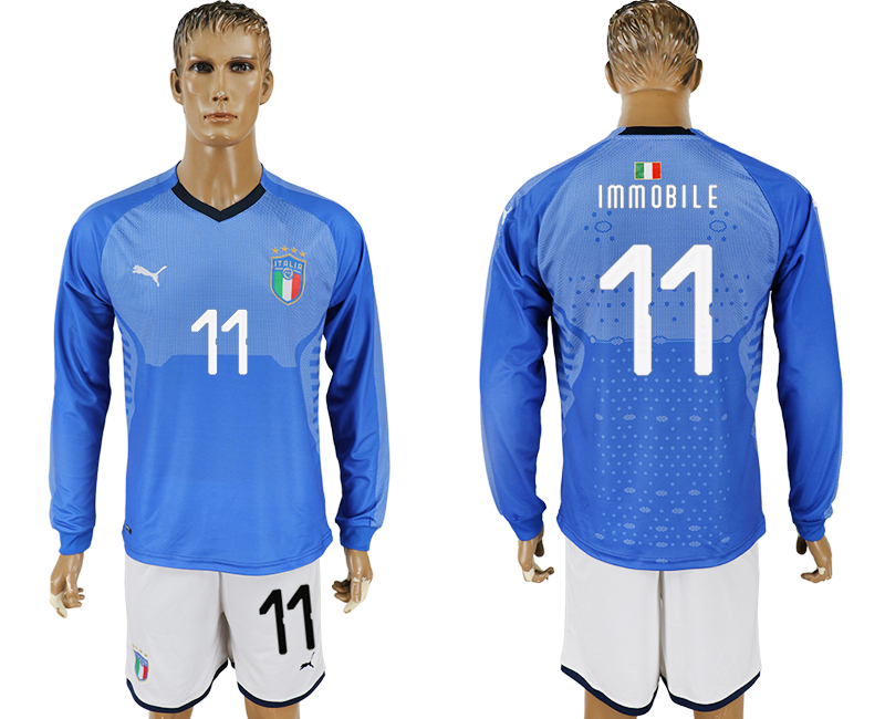 2017-18 Italy 11 IMMOBILE Home Long Sleeve Soccer Jersey
