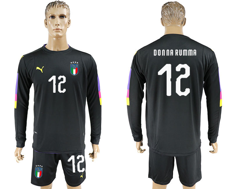 2017-18 Italy 12 DONNA RUMMA Black Long Sleeve Goalkeeper Soccer Jersey