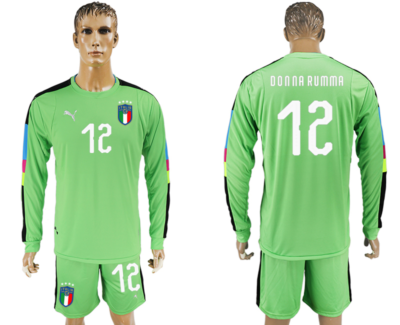 2017-18 Italy 12 DONNA RUMMA Green Long Sleeve Goalkeeper Soccer Jersey