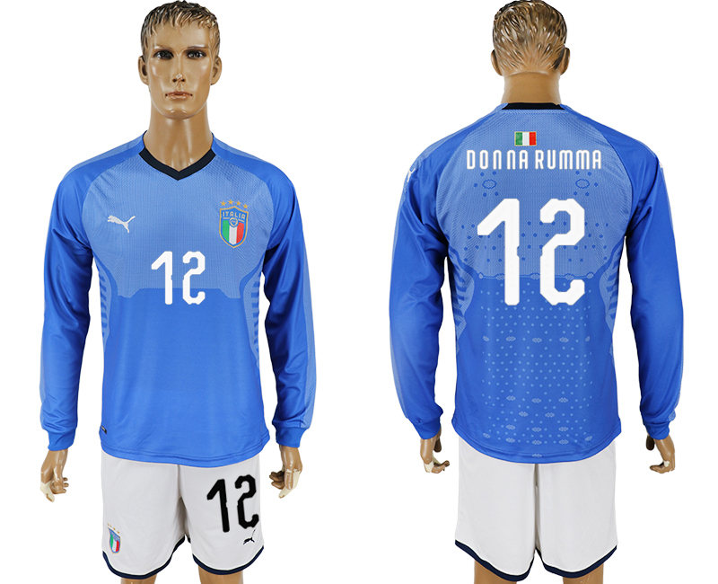 2017-18 Italy 12 DONNA RUMMA Home Long Sleeve Soccer Jersey