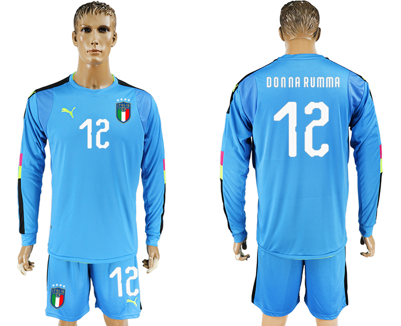 2017-18 Italy 12 DONNA RUMMA Lake Blue Long Sleeve Goalkeeper Soccer Jersey